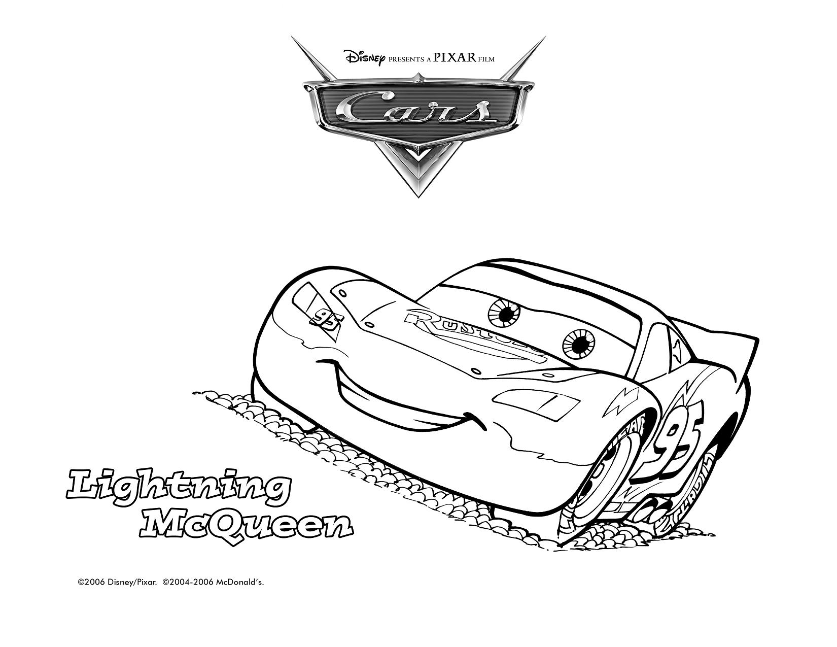 Hot wheels mcdonaldsl 2006 for Lightning mcqueen color pages